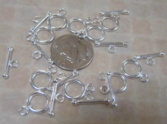 6 Sets Polished 92.5 Sterling Silver Toggle Clasps
