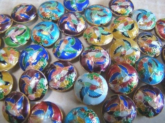 24 Awsome Cloisonne Over Copper BIG Flat Round Hummingbird Beads