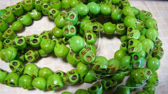 Apple Green Howlite Turquoise Carved Skull Beads FULL STRANDS