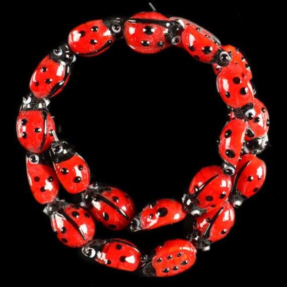 COOL  Handmade Ladybug Lampwork Pendant of Focal Beads FULL STRAND
