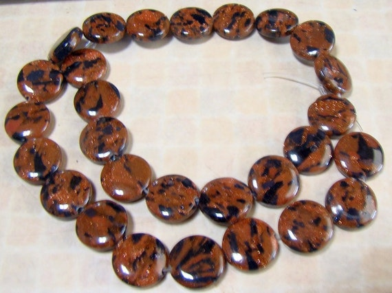 Mixed Blue and Gold Goldstone BIG Coin Beads FULL STRAND