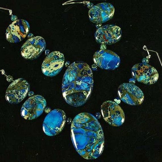 Sea Sediment Jasper Blue 15 Piece Pendant and Bead Set