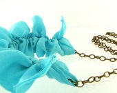 Blue Silk Ruffle Necklace with Antique Brass Chain