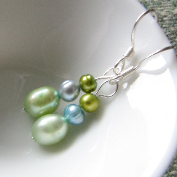 Drop Pearl Earrings in Light Green and Sky Blue and Olive