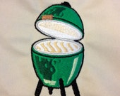 Personalized Green Egg Apron Custom Embroidered for BBQ Stitched with your words - MADE to ORDER