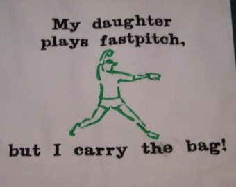 Fastpitch Softball Pitcher Canvas Tote Bag EMBROIDERED 18 x 5 x 12 Green