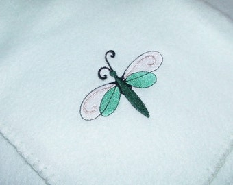 DRAGONFLY Blanket Lightweight Embroidery Fleece - Made to Order