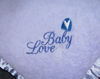 Embroidered Blanket BABY LOVE Light Purple with  Blue Heart Safety Pin plush lightweight Ready to Ship