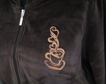 Jr. Large Velour Hoodie Coffee Tea Lover Embroidered Size Juniors Large Fitted Velour Hoodie