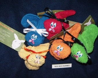 5 Random Colored Bunnies Embroidered Boo-boo Bunny Basket, Shower Gift Washcloth Animal Rabbit