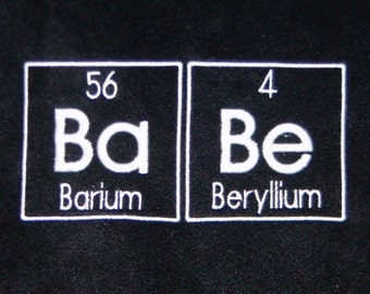 Ready to Ship Chemistry BABE Scarf in BLACK Science Geek Embroidery