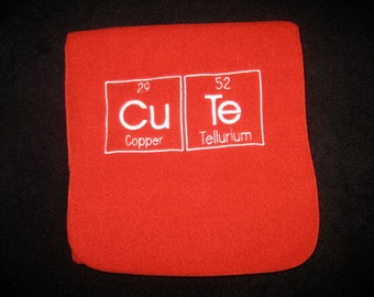 CuTe Scarf Chemistry Letters Science Geek Long Fleece Embroidered with Periodic Table Letters Made To Order