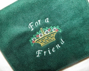 Hunter Green Fleece Scarf Embroidery Flower Bouquet For A Friend - Ready to Ship
