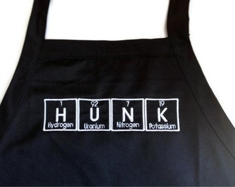 """HUNK Periodic Table BBQ Apron Embroidery 30"""" Made to Order"""