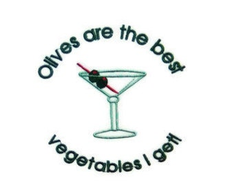 Apron Martini Olives are the Best Vegetables I get - Custom Embroidered 34 inches long with long straps