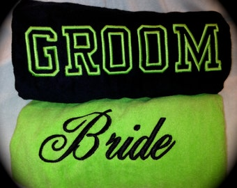 BRIDE & GROOM BEACH Towels Embroidered 100% cotton terry velour Bridal Couple Shower Wedding Gifts - Made To Order