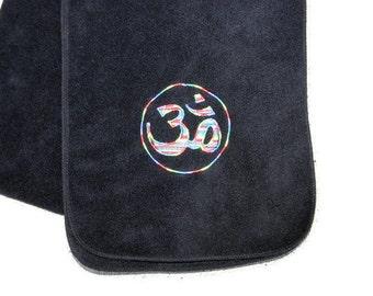 Rainbow Aum on Black Fleece Scarf Embroidery with Variegated Rainbow thread - Ready to Ship