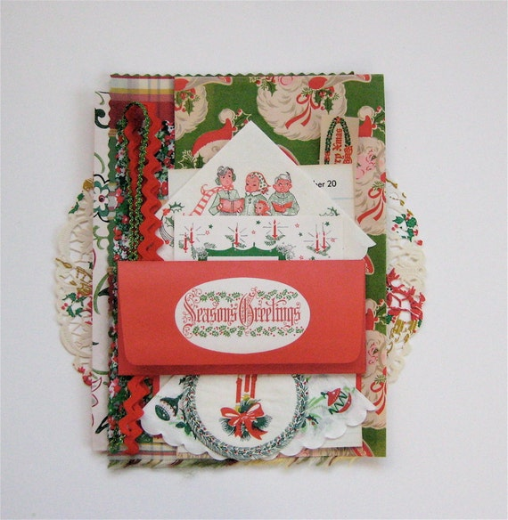 Vintage Retro Christmas Collage Scrapbook or Banner Pack - Plaid