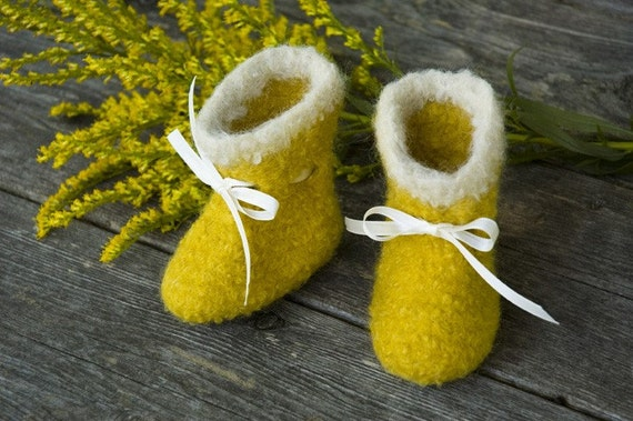 Goldenrod Yellow Felted Wool Baby Booties SUMMER SALE 40%  OFF