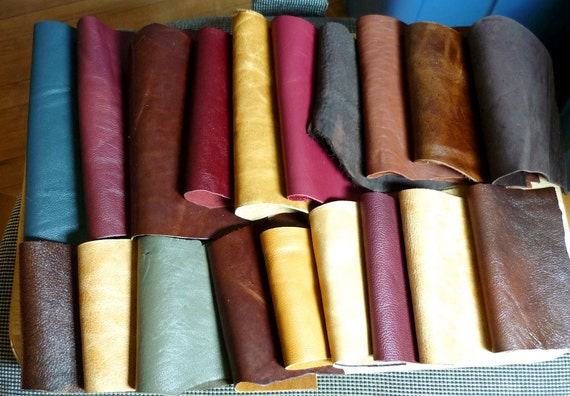 Leather Remnants 19 pieces Mixed Browns Crafts Destash Lot 19-26