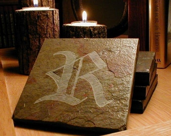 Stone Coasters: Monogram Coasters, YOUR CHOICE LETTER, Old English Script - Handmade Carved Slate Coasters, Set of 4, Personalized Coasters