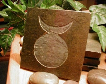 HORNED GOD Altar Tile - Hand Carved Slate Art Tile, Etched Stone Art Coaster, The Old One, Pagan Altar Decor, Diety Stone, Wiccan Decor