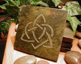 CELTIC LOVE KNOT Art Tile - Hand Carved Slate Coaster Art, Etched Stone Art Coaster - Celtic Knot Art, Celtic Knot Decor, Boyfriend Gifts