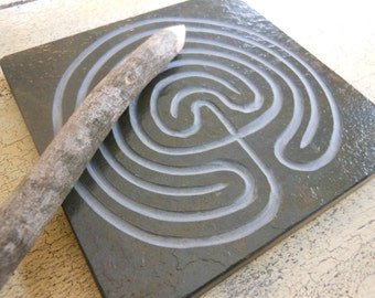 LABYRINTH STONE - Carved Troy Outline (2 pathways) - Finger Maze Meditational Tile - Hand Carved Natural Slate