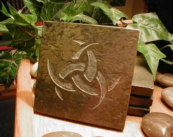 TRIPLE HORN Art Tile - Triple Crescent, Horned Triskele, Hand Carved Slate Stone - Norse Decor, Norse Art, Freya Odin Loki Altar Tile