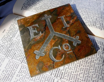 East India Trading Company Art Tile - Hand Carved Etched Slate Stone - Pirate Ship Nautical Decor, Mariner History Buff Nerd Decor Gift