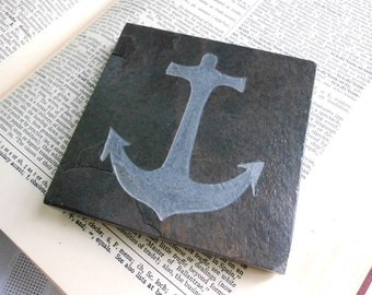 ANCHOR Art Tile - Hand Carved Etched Slate Stone - Nautical Art Display Tile, Beach Bath Home Decor, Coaster, Soap Dish, Sailor Boater Gift