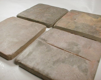 TUMBLED SLATE COASTERS - Absorbent Heavy Works Great - Coasters Don't Stick - Tumbled Stone Coasters