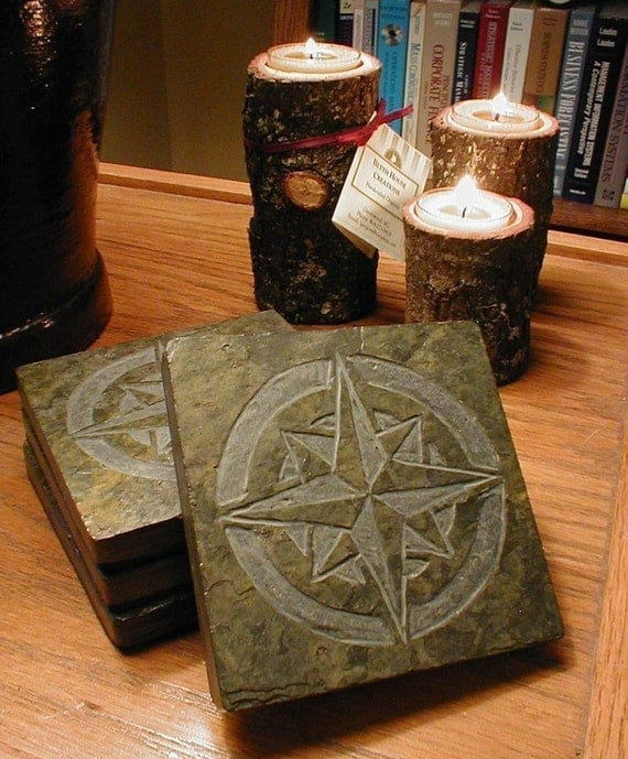 Mariner star coaster set natural slate stone compass rose - Slate drink coasters ...