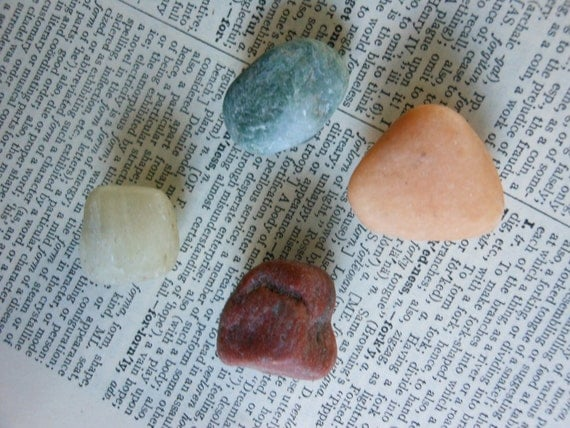 4 NATURAL STONE MAGNETS -  Refrigerator Fridge Magnets - Lake Cabin Decor
