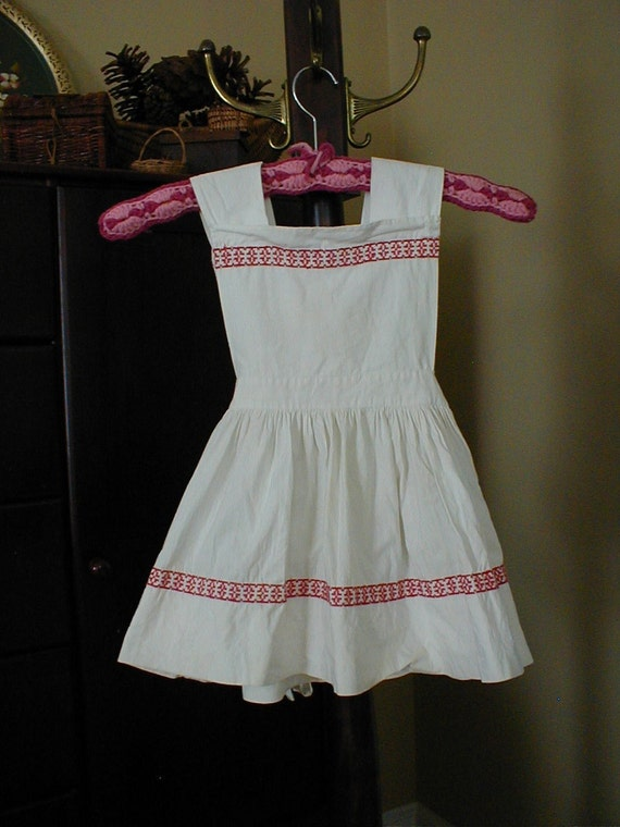 1940's GIRLS DRESS - Small Childs Cotton Embroidered Apron Dress- Peasant Dresses