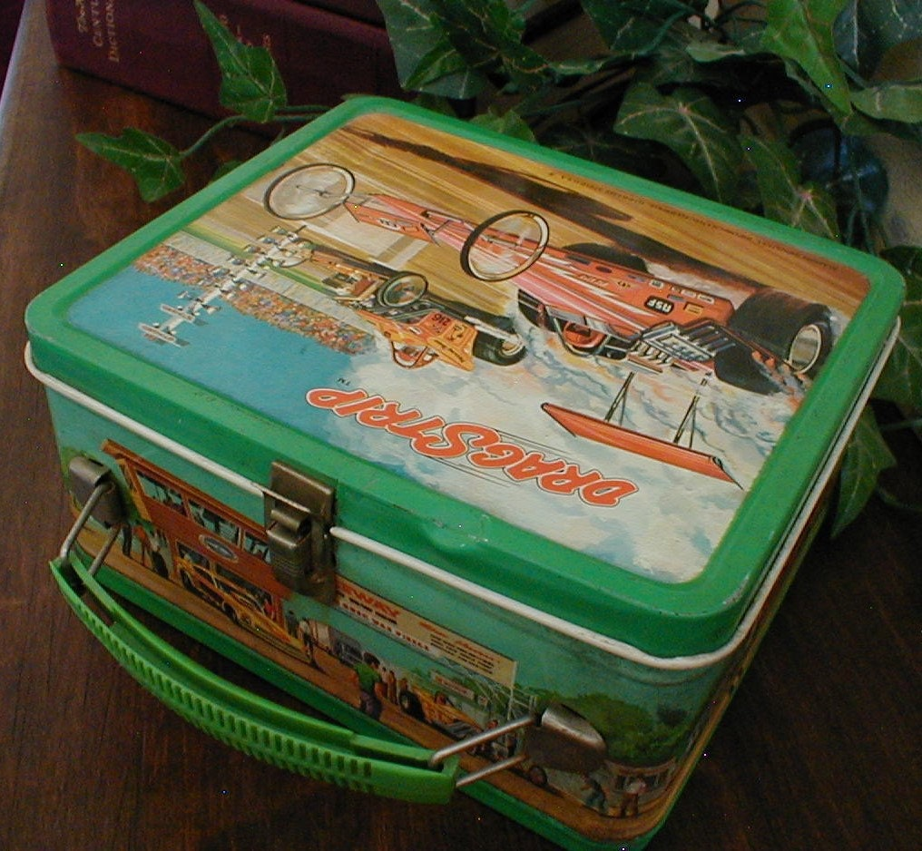 Dragstrip Lunch Box Vintage Metal Lunch Box Racing Car