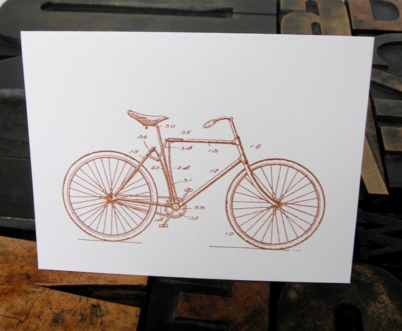 Set of Six Bicycle Note Cards - Gocco Printed