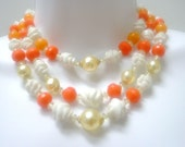 SALE--Vintage WEST GERMANY Three Strand Beaded Necklace