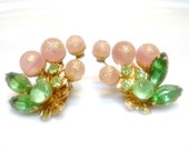 Vintage BEAUJEWELS Rhinestone and Lucite Earrings