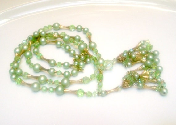 Vintage Two Strand double Tassle Crystal Beaded and Faux Pearl Necklace