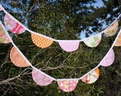 Very Long Orange and Pink SCALLOPS Bunting Flag Garland.  Features Large Fabric Pennants.  Designer's Choice, Surprise Banner.