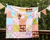 2 Items, Matching Blanket and Banner Set, Shabby Chic, Vintage Look.