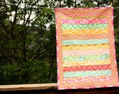 Striped Amy Butler Baby Quilt. Perfect Photo Prop, Wall Art, Shower Gift.