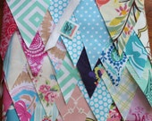 Custom Wedding Bunting, 200 Feet of Fabric Flags. Perfect for Photo Prop, Bridal Decoration, Shower Decor...
