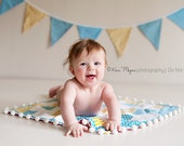 Photo Set Up in Blue, Yellow and Aqua. Doll Quilt and Flag Banner Set.  Photo Prop Set up for Boys.