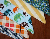 Elephant Bunting Flag Banner Fabric Pennants Photo Prop. Designer's Choice. Birthday Decoration. Boy or Girl Decor.