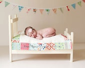 Custom Patchwork Edged Doll or Mini Wall Quilt With Matching Banner. Sweet Newborn Photo Prop.  Made To Order.