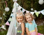 Super Long Bunting Banner Pastel Flags, Photo Prop Party Decoration. Personalization Optional.