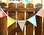 Fabric  Flag Bunting. Gender Neutral, Ready To Ship.  Photo Prop, Nursery Decoration, Party Banner, Shower Decor. For Girls Too...