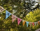 Happily Ever After, Multicolored Flag Banner, Long Garland Bunting, Large Flags, Party Decoration, Photo Prop. Made To Order.